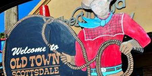 Escape Case team building Scottsdale, Phoenix. Old Town Scottsdale cowboy sign on a