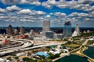 Skyline of sunny downtown Milwaukee, Wisconsin. Milwaukee team building for groups of all sizes.